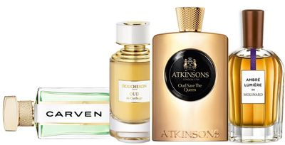 Carven perfume Paris Seville, Boucheron, Atkinson's Oud Save the Queen, Molinard Ambre Lumiere.