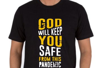 God Will Keep You Safe. T-Shirts Printed Service Online. Bulk Order discount
