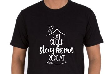 EAT SLEEP STAY HOME REPEAT T-SHIRT PRINTING