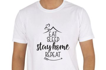 EAT SLEEP STAY HOME REPEAT T-SHIRT PRINTING DELHI ONLINE
