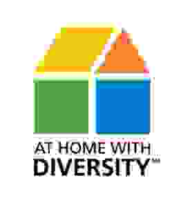 At Home With Diversity logo a house split into yellow, red, blue and green sections.