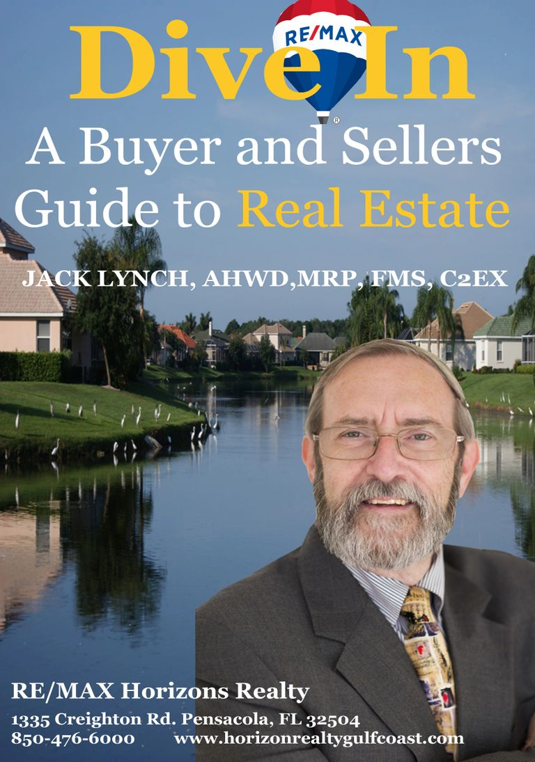 Realtor Jack Lynch by a lake surrounded by homes. Dive In is a buyers and sellers guide to Real Esta