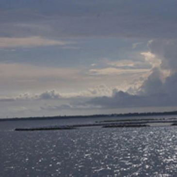 Photo of Escambia Bay in downtown Pensacola on a cloudy afternoon.