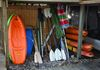 Kayaks for adults and children, paddles, umbrellas for the dock or beach.