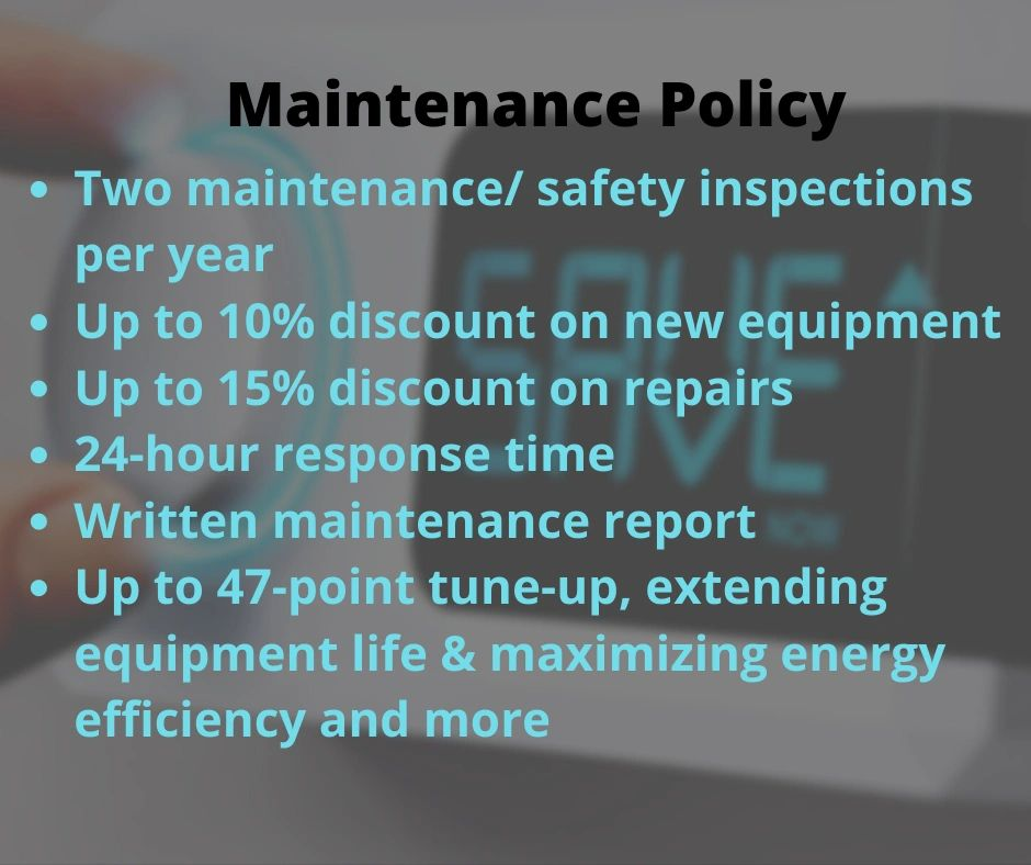 HVAC maintenance policy. Discounts on AC repair and equipment. tune-up