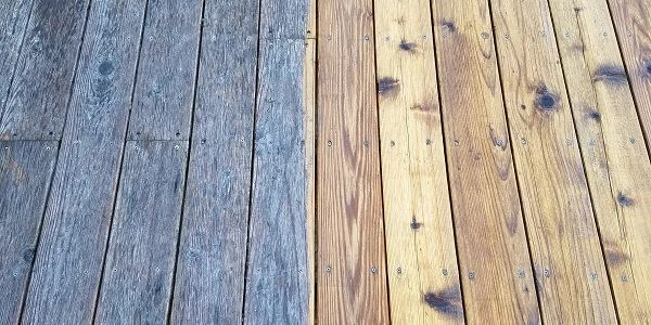 deck before and after pressure wash