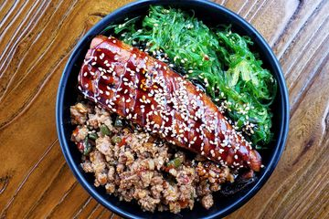 Eel Rice Bowl - Japanese Style Rice Bowl with Baked Eel, Seaweed Salad and Minced Pork