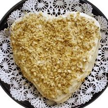 Single layer heart shaped carrot cake