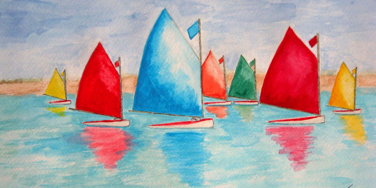 Weekend Regatta  16x20 inch framed watercolor by Colleen Casner