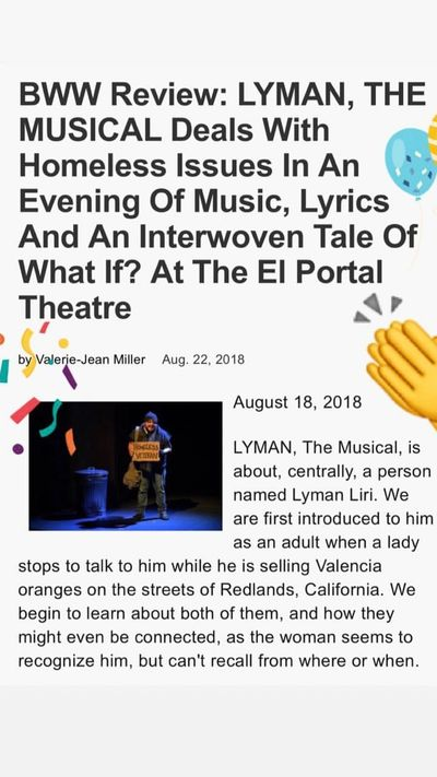 Broadway World review of LYMAN The Musical at the El Portal, August 18-26.