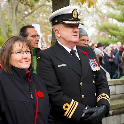 Royal Canadian Navy Veteran and candle maker LCdr David Lewis and wife