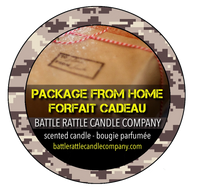 Canadian Veterans Battle Rattle Candle Company scent PACKAGE FROM HOME