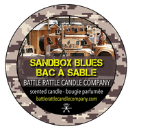 Canadian Veterans Battle Rattle Candle Company scent SANDBOX BLUES