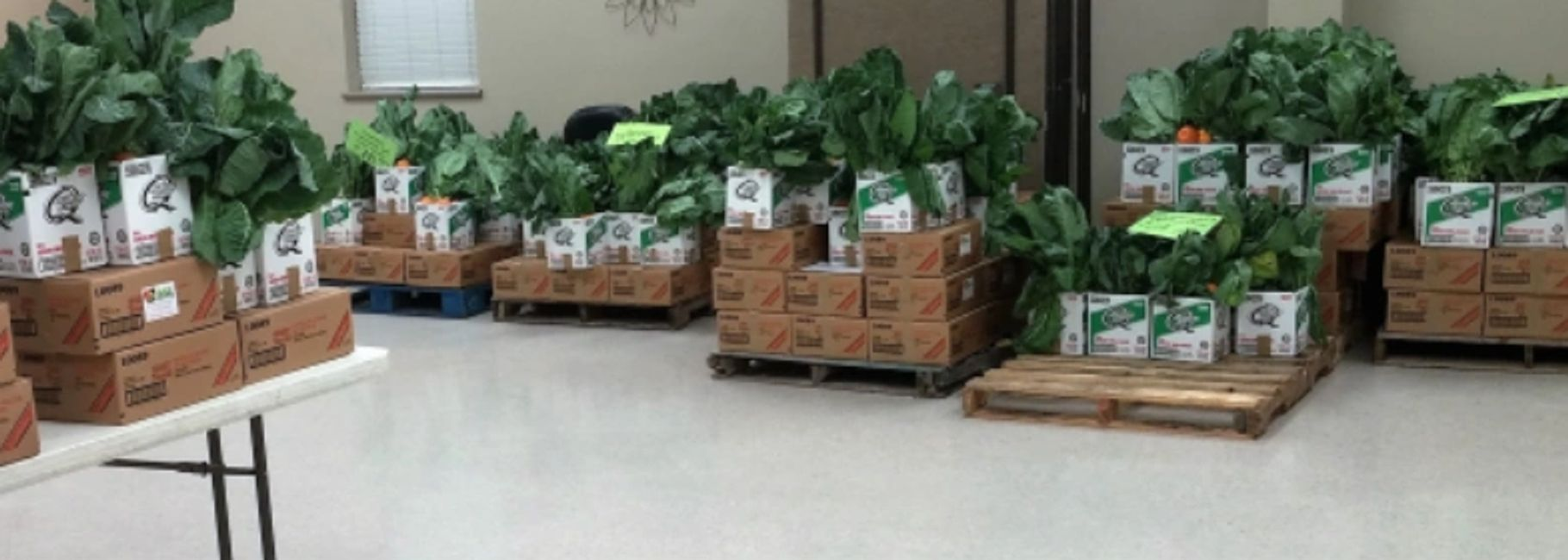 SNWP Distribution  - Boxed nonperishables and paper products with open box of fresh produce on top