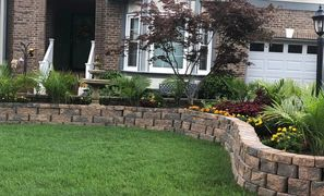 Hard scape, retaining wall, patios, installation, planting, sodding