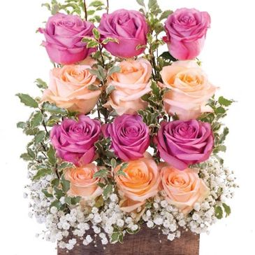 peach roses, lavender roses, valentines flowers