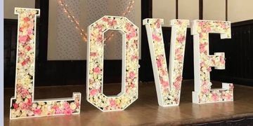 Giant floral love Hire