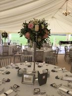 Our candelabras are 100cm tall. Available in gold or silver. £25 Hire with fresh florals from £75