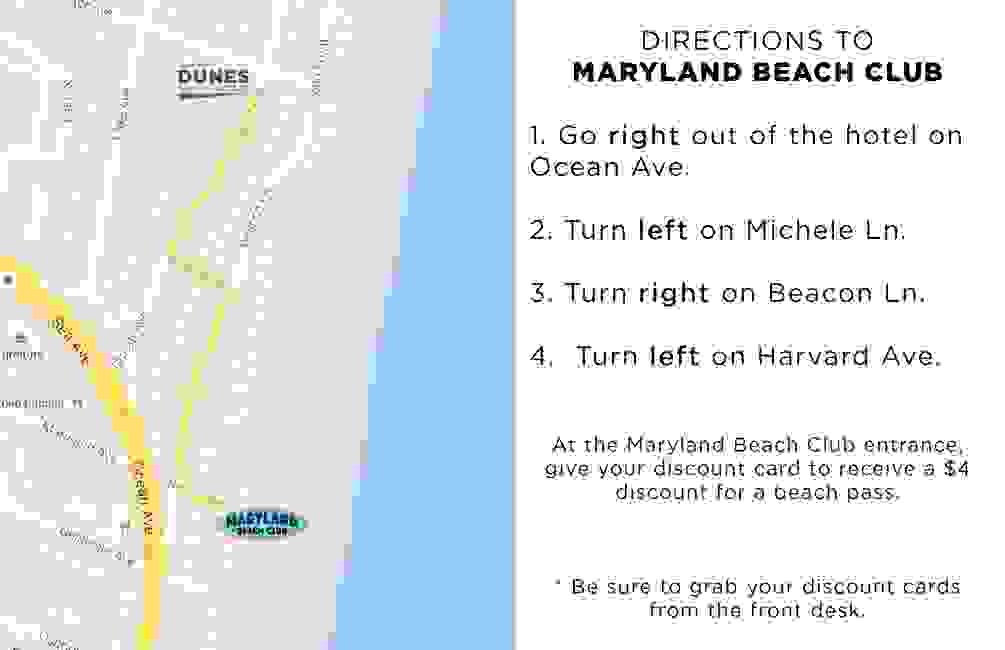 Directions to Maryland Beach Club