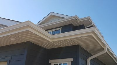 "Wolf White 5"" Eavestroughing and Wolf White Soffits and Fascia"