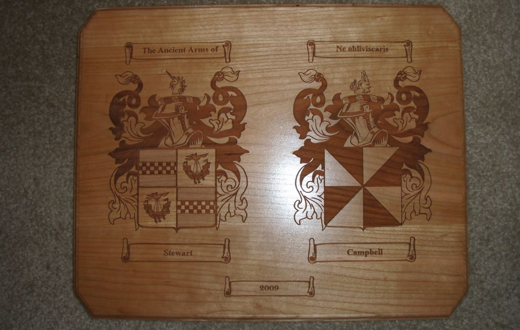 Laser engraved wedding plaque with bride and grooms Coat of Arms
