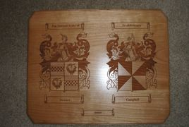 Laser engraved wedding plaque with two coats or arms