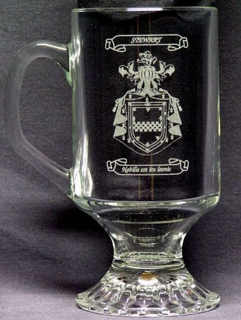 Irish coffe mug with laser engraved Coat of Arms