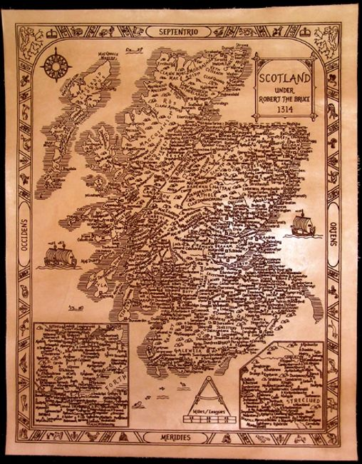 Antique style, laser engraved leather map of Scotland
