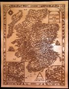 Engraved leather map of Scotland