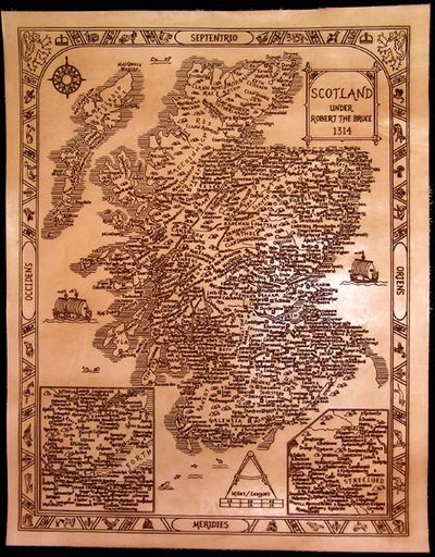 Laser engraved antique style leather map