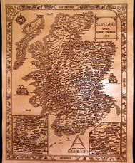 Engraved leather antique style clan map of Scotland
