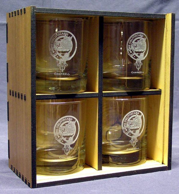 Laser engraved whiskey glasses in a laser cut gift box