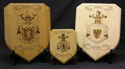 Laser engraved coats of arms on shield plaques