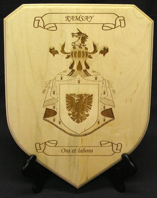 Small shield plaque with laser engraved Coat of Arms