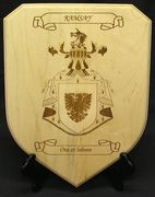 Maple shield plaque with engraved coat of arms