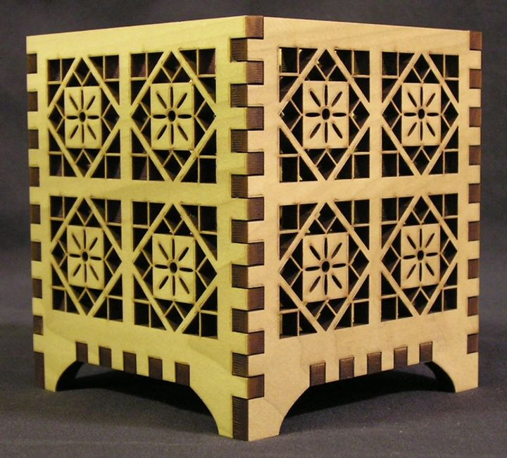 Laser cut candle holder box