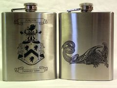 Laser marked stainless steel flask