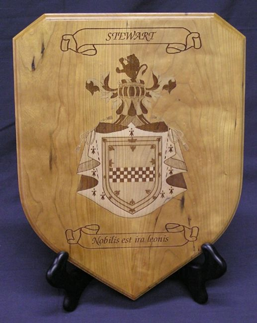 Large shield plaque with laser engraved Coat of Arms