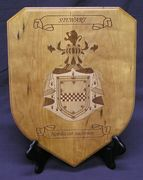 Cherry shield plaque with engraved coat of arms