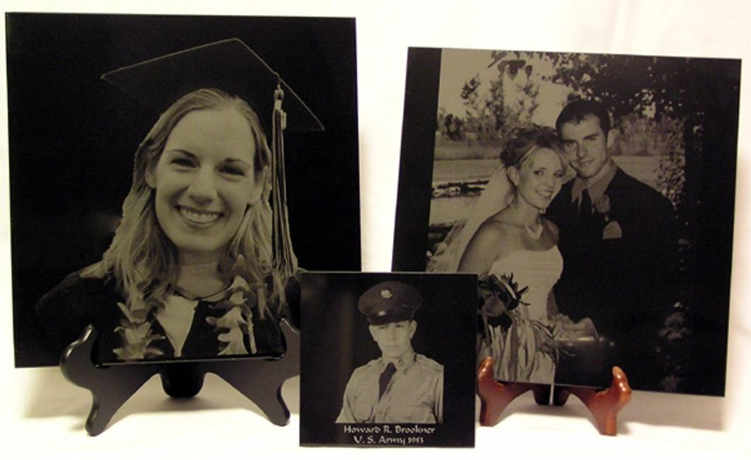 Black granite tiles with laser engraved photos