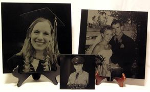 Engraved photos on black marble