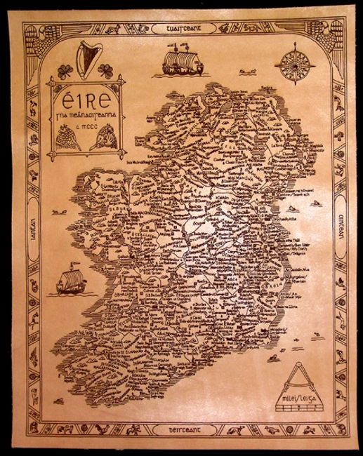 Antique style, laser engraved leather map of Ireland
