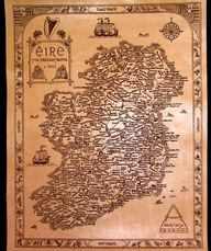 Engrave leather antique style map of Ireland