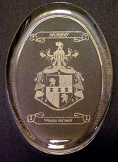 Clear glass paperweight with laser engraved Coat of Arms