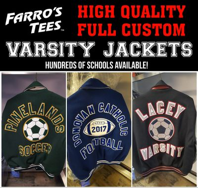 High School Varsity Jackets in Toms Rivers or Brick, NJ Varsity Jackets full custom embroidery