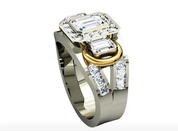 Original Design White Gold Yellow Gold Natural Diamond Fahsion Ring