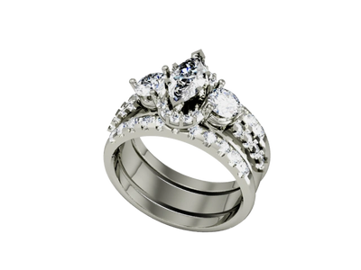 Custom natural diamond and white gold ring