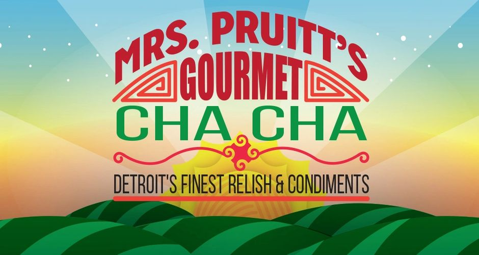 This is a picture of Mrs. Pruitt's Gourmet Cha Cha label and logo