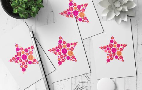 Studio Box Six christmas greeting cards. Pink and orange circle graphics in a star shape.
