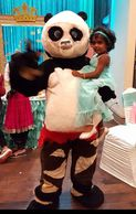 Houston mascot costumed characters birthday party entertainer with this Panda of Kung Fu